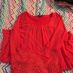 Loose red bell sleeved dress